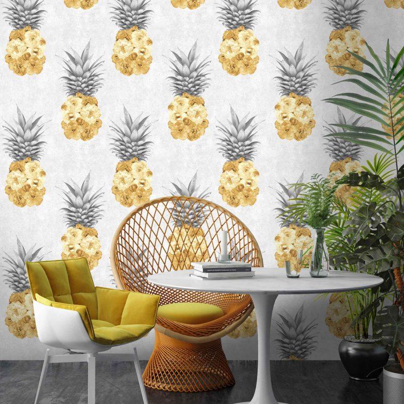 grey and yellow wallpaper