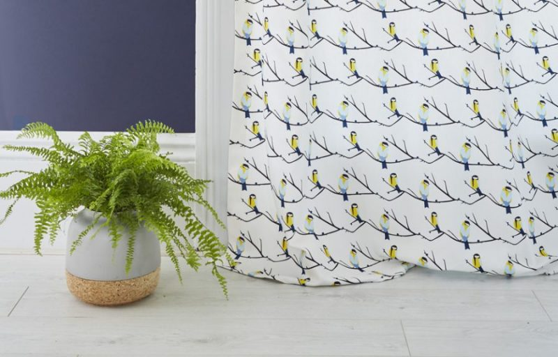 Bird themed blue, grey and yellow curtains