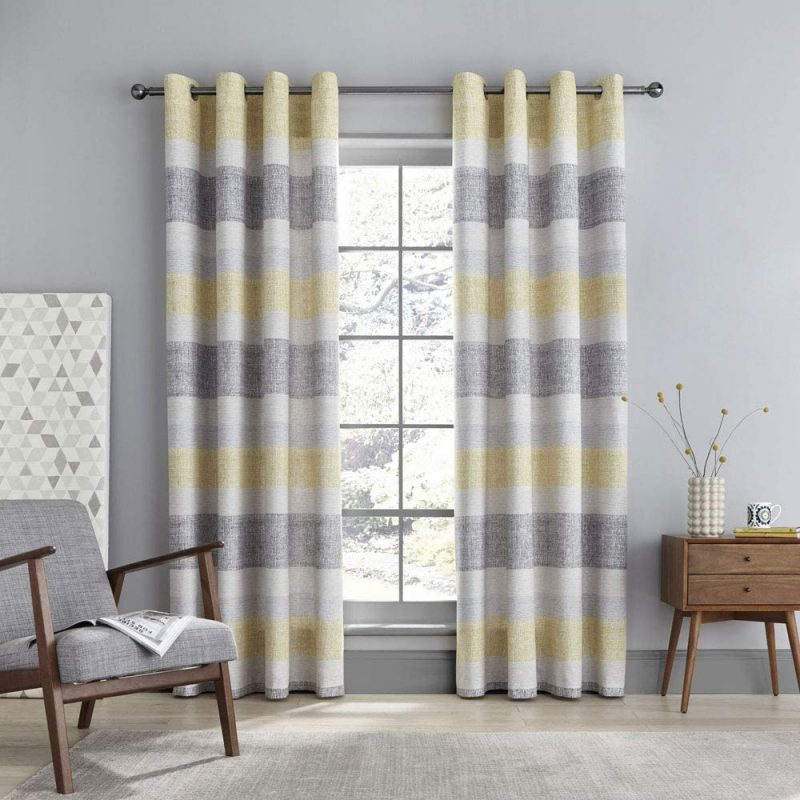 grey and yellow curtains stripes