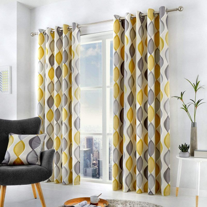 mustard yellow and grey curtains